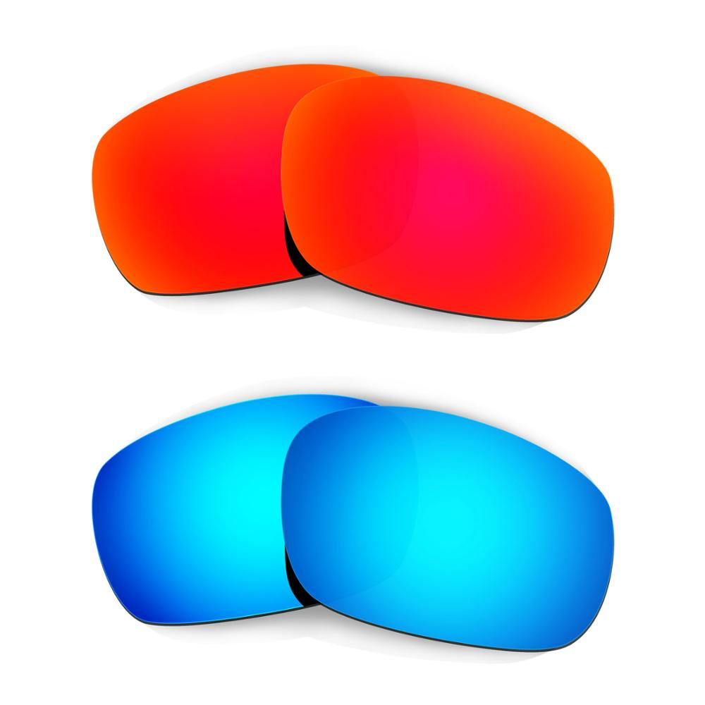 HKUCO For Racing Jacket (Asian Fit) Sunglasses Replacement Polarized Lenses 2 Pairs - Red & Blue