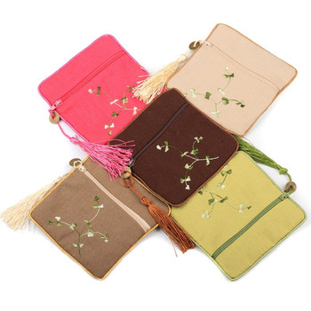 11.5*11.5CM Coin Purse Gifts Bags Natural Cotton Linen Jewelry Pouches Flower Clothed Embroidered Zipper Bag