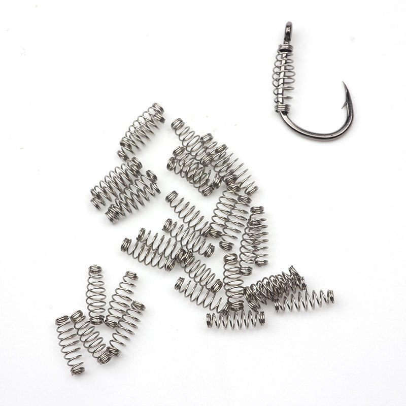50-100pcs/lot Fishing Spring Bait Feeder Spring Set Barbed Swivel Jig Carp Single Hook S M L Fly Fishing Tackle Tool Accessories