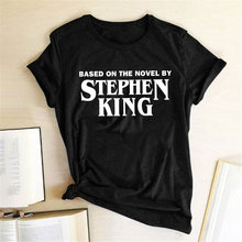 Женская футболка с принтом Стефана Кинга свободная рубашка круглым