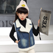Winter Children girls Lamb Wool Waistcoat Girls Vest jeans Coat Solid  Sleeveless Jacket coat waistcoat