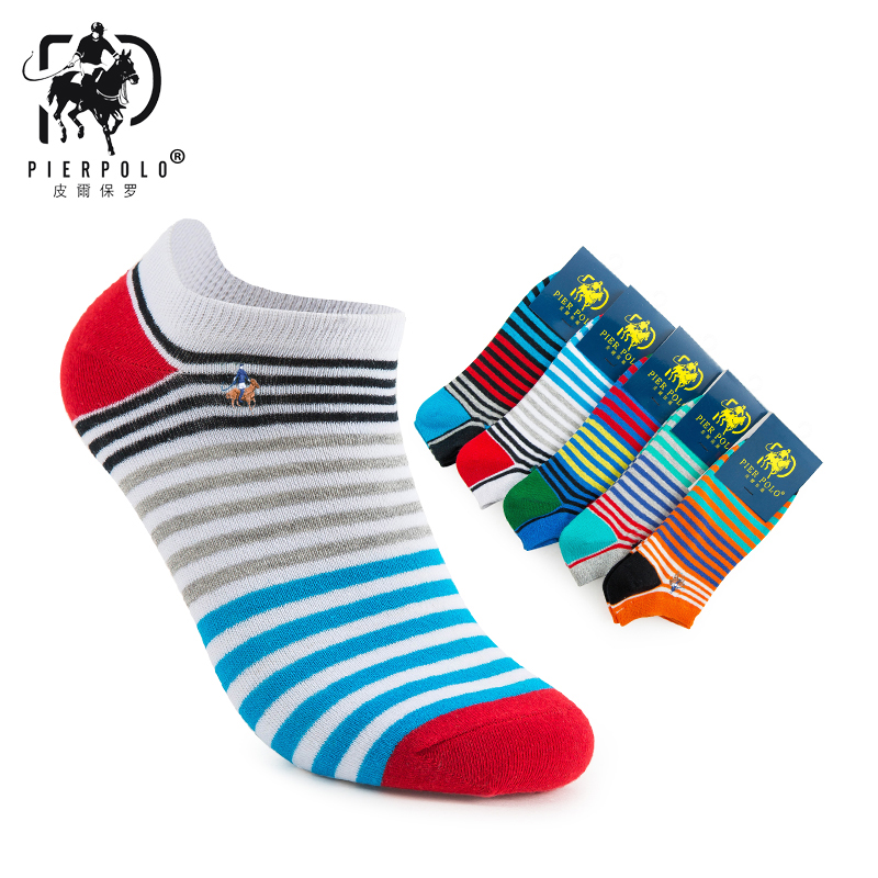 2019 Hot Sale Mens Socks Calcetines Hombre New Spring And Summer Pier Polo Men Socks Stripes Boat Cotton Men's Wholesale