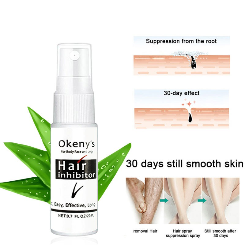 Organic Nourish Smooth Body Hair Removal Spray Herbal Permanent Hair Growth Inhibitor Repair  For Private Part Leg Facial Hair