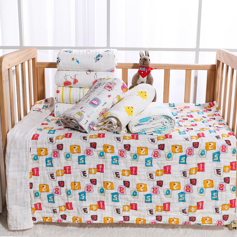 Pure Cotton Six-layer Gauze Baby's Bath Towel Towel Blanket Foamed Cotton Pleated Children's Quilt Cartoon Printed