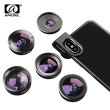 цена на APEXEL 5 in 1 phone camera lens  HD wide angle macro lens fish eye telescope lens for iPhone X XS max Samsung s9 plu smartphones