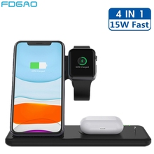 4 In 1 15W Wireless Charger Stand for iPhone X XS XR 8 11 Apple Watch 5 4 3 2 Airpods Pro Samsung Qi Fast Charging Dock Station