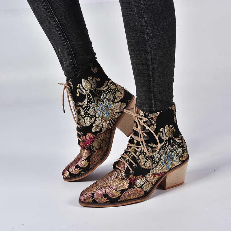 Frauen Chelsea Stiefel Sticken Ethnische Winter Ankle Boot Lace Up Spitz Hohe Ferse Schuhe Warme Retro zapatos de mujer