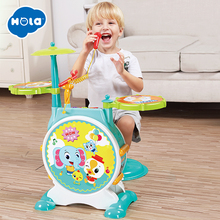 все цены на Children Kids Jazz Drum Set Kit Musical Educational Instrument Toy Drums Stool Drum Sticks for Kids онлайн