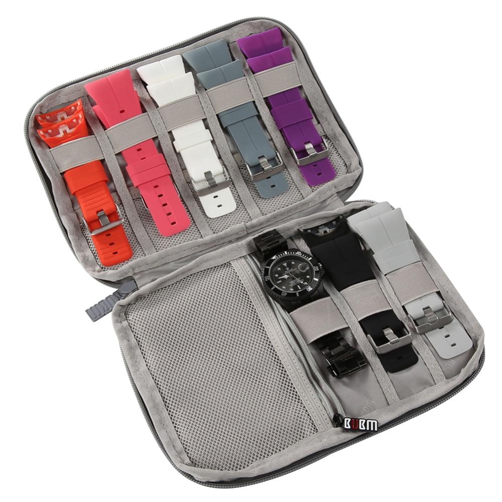 Multifunction Portable Watch Strap Organizer Watch Band Box Storage Bag Watchband Holder Watch Travel Case Pouch Gray Black