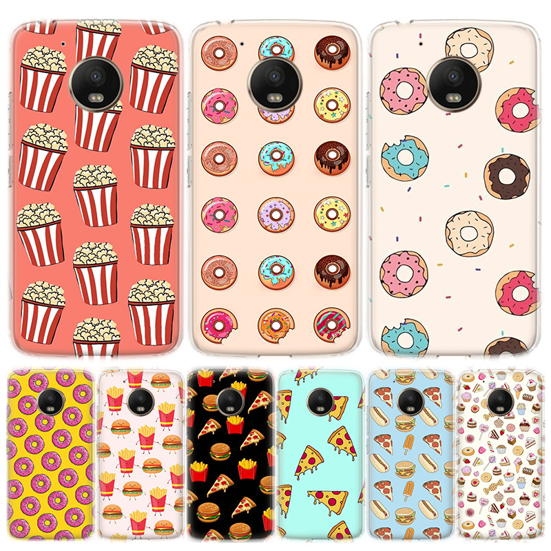 Pizza French Fries Doughnut Food Phone Case For MOTO Motorola G8 E4 E5 E6 G7 G6 G5S Plus Play Power ONE Action Cover Coque Soft