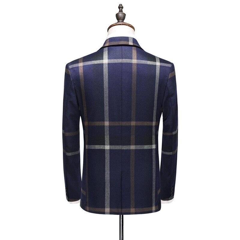 Fashion plaid designs lapel men custom suit groom tuxedos wedding 3 pieces suits best man Blazer (Suit + pants + vest)