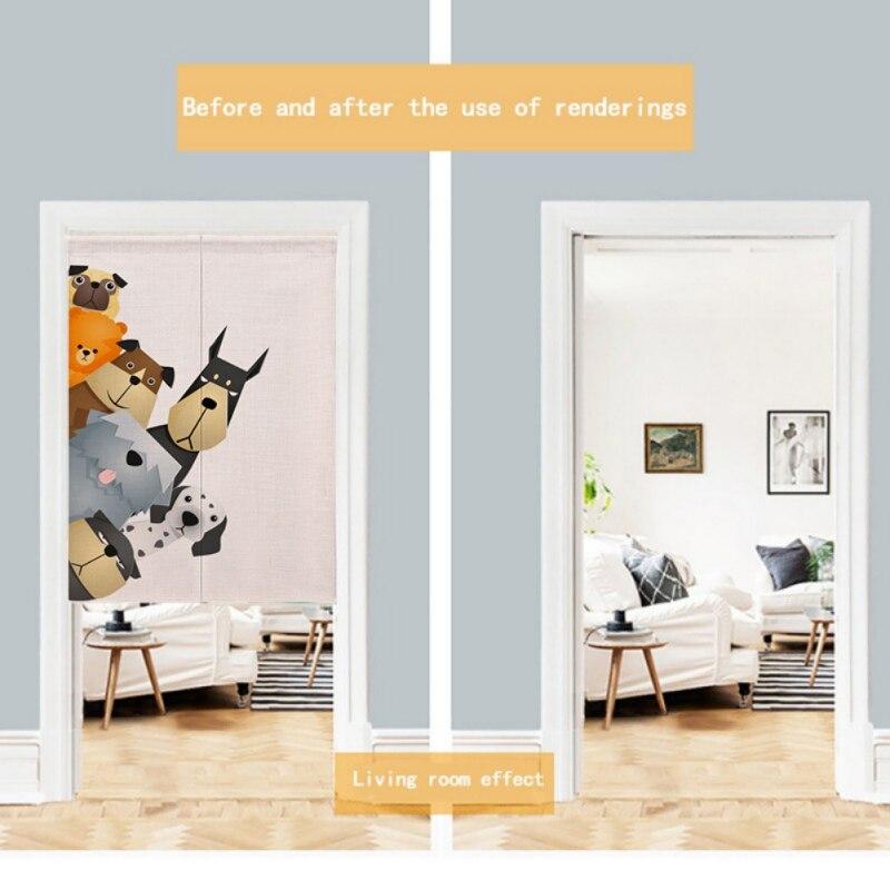 Для украшения дома мультфильм животных печатных девиз Лен японский стиль Норен дверная занавеска висячий гобелен