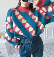 2 Color New Winter Cute Heart Women Sweater Long Sleeve Pullover Top Loose Fashion Vintage Turtleneck Stripe Sweater Female