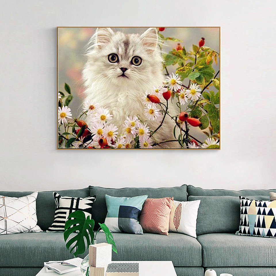 EverShine 5D Diamond Painting Full Drill Animal Diamond Embroidery Cat DIY Needlework Beaded Cross Stitch Handmade Gift-3