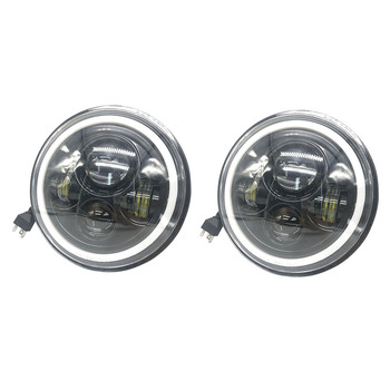 2pcs Eagle Lights LED Headlight with Halo Ring for Motorcycles with 7'' Headlight