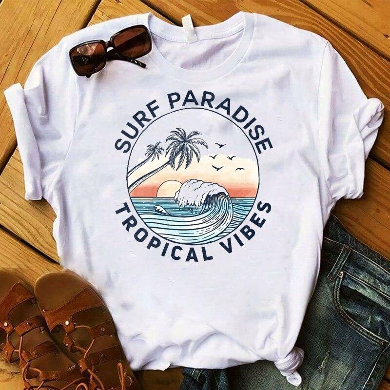 Camiseta de mujer a la moda con estampado gráfico de olas de Surf Ocean Road Trip, camiseta para mujer Camiseta con letras de amigos, camiseta de moda de verano para mujer con dibujos estéticos de amigos, pantalón corto informal de manga corta, graciosas camisetas coreanas para mujer