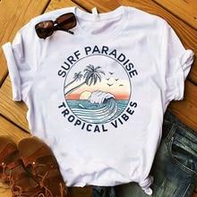 Fashion Women T Womens Surf Wave Ocean Road Trip Printed Graphic Tee Shirt Femme