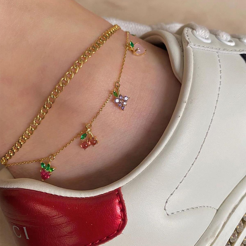 Bohemian Vintage Golden Chain Crystal Beach Anklet for Women Layered Heart Cherry Grape Pendant Anklet Foot Jewelry 2020