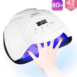 Image 1 - Feecy Lámpara LED UV para manicura, 80W, para barniz de Gel, 42 LED