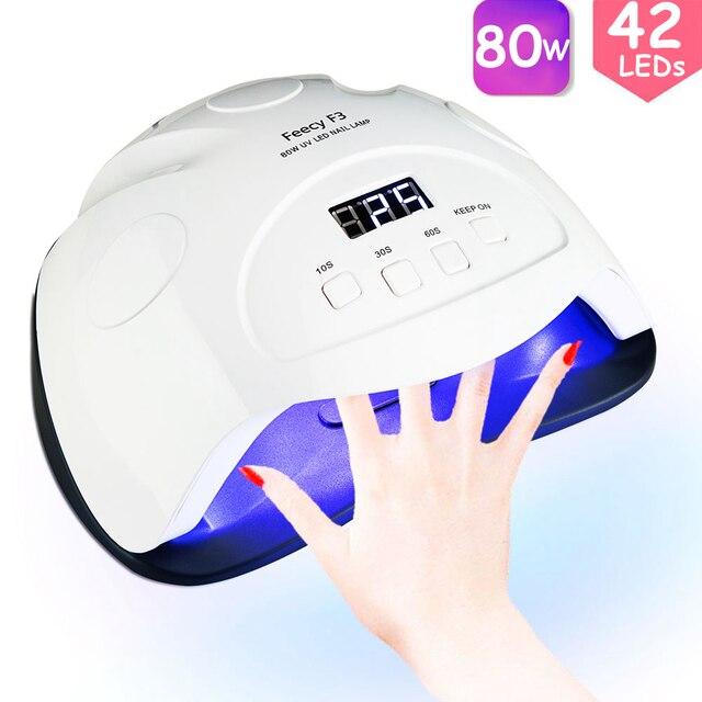 Feecy Lámpara LED UV para manicura, 80W, para barniz de Gel, 42 LED
