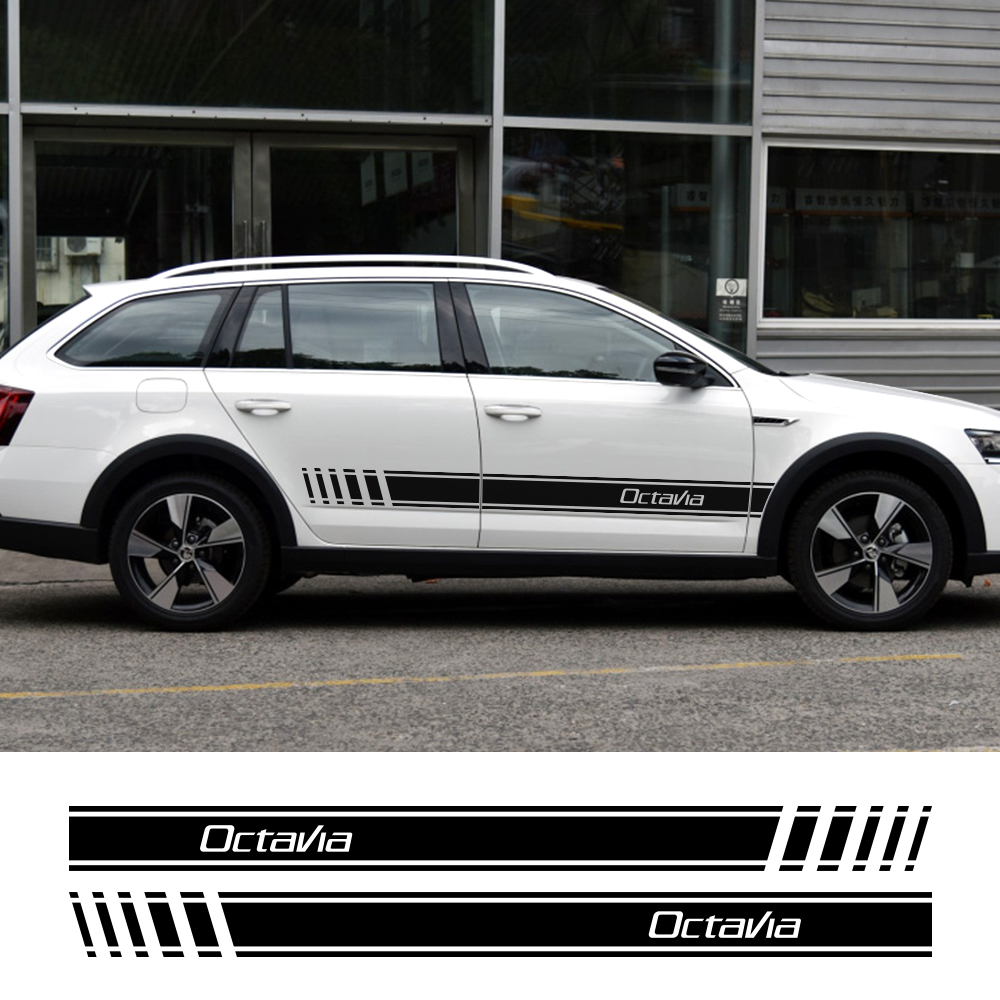 2PCS Car Side Stickers Auto Free Shipping Decals DIY Decoration For Skoda Octavia 2 A7 A5  Automobiles Tuning Car  Accessories