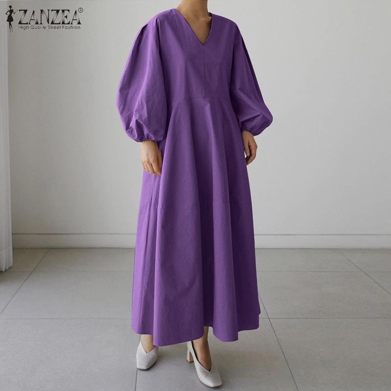 ZANZEA 2021 Women's Autumn Sundress Kaftan Solid Maxi Dress Casual Puff Sleeve Baggy Vestidos Female V Neck Robe Plus Size 5XL