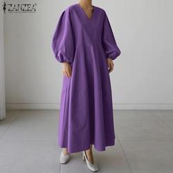 Zanzea 2021 vestido de verão feminino kaftan sólido maxi casual puff manga baggy vestidos feminino v pescoço robe plus size 5xl