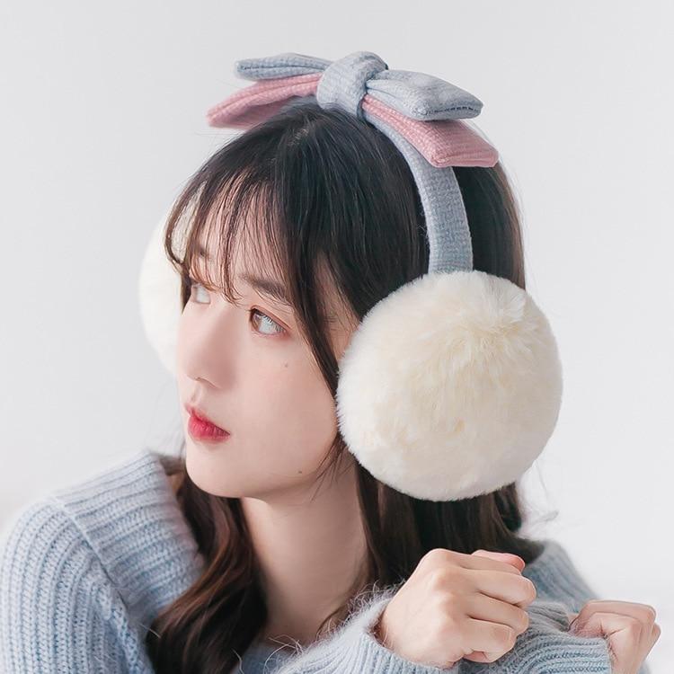 2-color Bow Earmuffs Korean Style Female Outdoor Riding Cute Imitation Rabbit Fur Soft Students Temperament Earmuffs Accessories