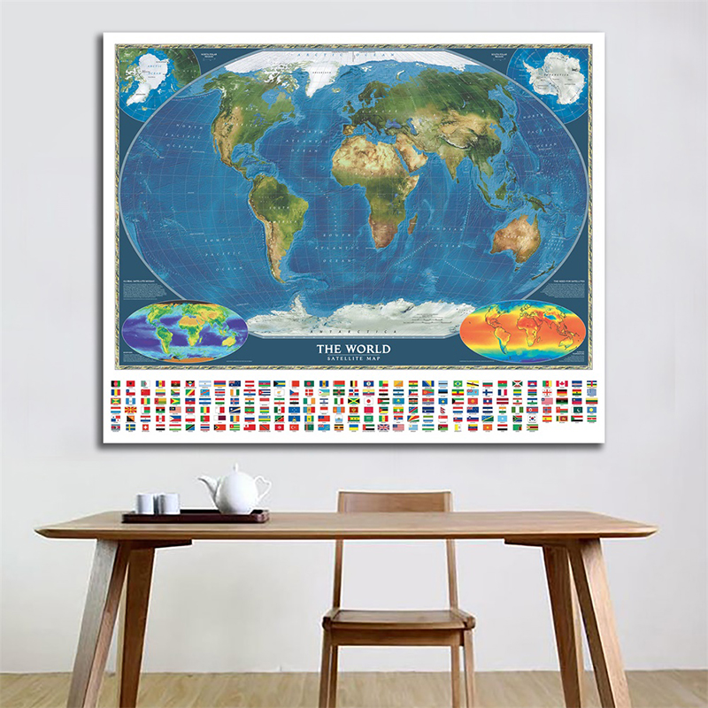 The World Satellite Map With Surface Temperature And Biosphere Non-woven World Map With National Flags 150X100cm