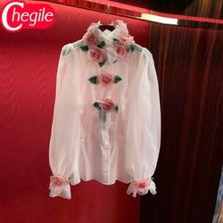 Женская блузка для подиума, весна-лето 2020, шифоновая рубашка с длинными рукавами с аппликацией розы и оборками