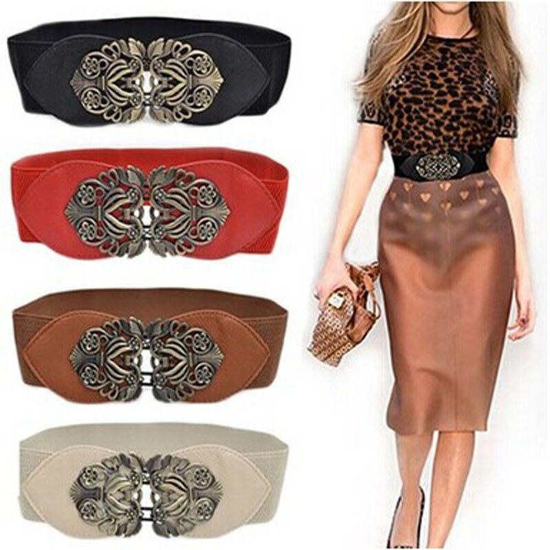 Women Belt Fashion PU Leather Fashion Vintage Wide Elastic Stretch Buckle Waist Belt Waistband Belt Party Dress Decor Waistband