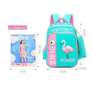 Image 3 - 2020 neue 3D Flamingo Schule Taschen Für Mädchen Jungen Cartoon Shark Rucksack Kinder Orthopädische Rucksäcke mochila escolar Grade 3 5