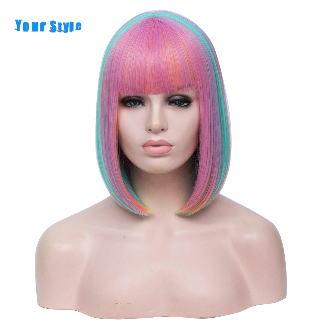 Your Style 5 Colors Short Straight BOB Cosplay Wigs Women Girls Rainbow Mixed Color Pink Red Green Blue High Temperature Fiber