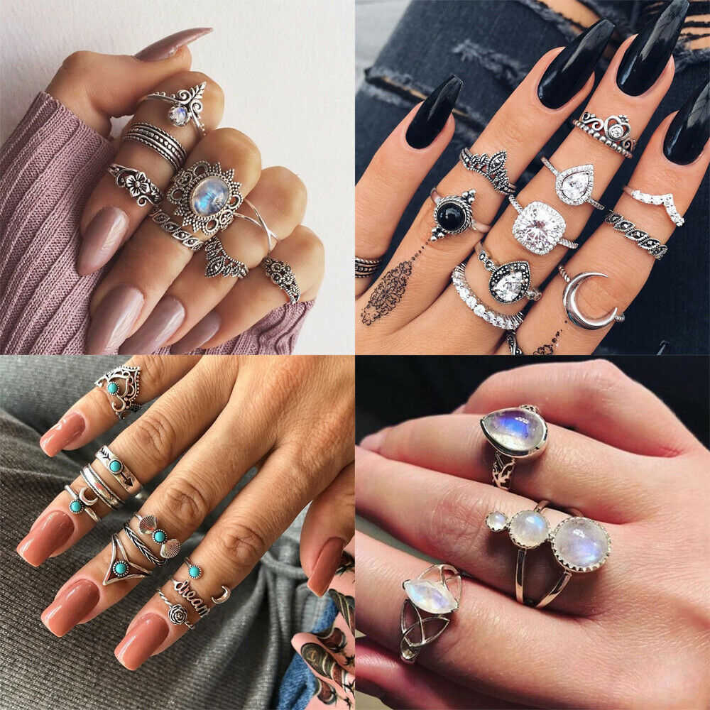2019 New Fashion Retro Set Silver Gold Boho Moon Flower Midi Finger Knuckle Rings Jewelry Wedding Band Anillos Mujer