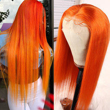 eullair 13x4 Colored Human Hair Wigs Orange Lace Front Wigs Pre Plucked Hairline Straight Lace Front Human Hair Wig 10-30 Inches(China)