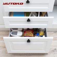 Yutoko clássico preto porta alças de metal gaveta puxa armário de cozinha alças e puxadores de móveis ferragens