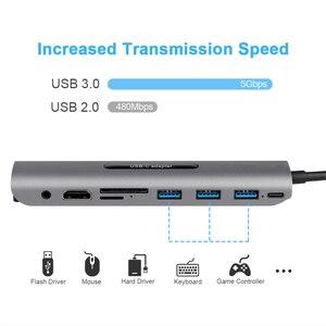 Image 2 - Hot 5 Trong 1 HUB USB C USB C Để USB USB 3.0 SD/TF Đầu Đọc Thẻ Adapter Dành Cho mac Book Pro Samsung Galaxy Thunderbolt 3 USB C Sạc