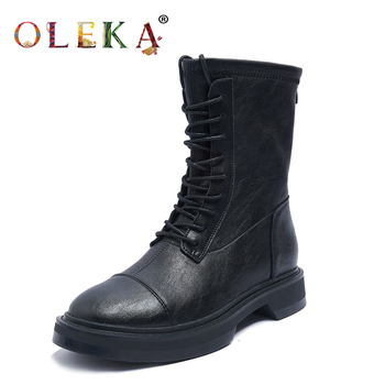 OLEKA  Mid-calf Winter Ladies Boots Square Heel Rome Round Toe Punk Style Motorcycle New AS616