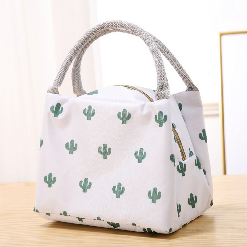 2020 Cactus Portable Insulated Oxford Lunch Bag Thermal Food Picnic Lunch Bag For Women Kids Functional Pattern Cooler Lunch Box