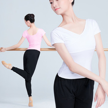Girls Adult Full Cotton Ballet Dance Clothes Tops White Black Pink Short Sleeve T-shirt Womens Clothing Ballerina Wear