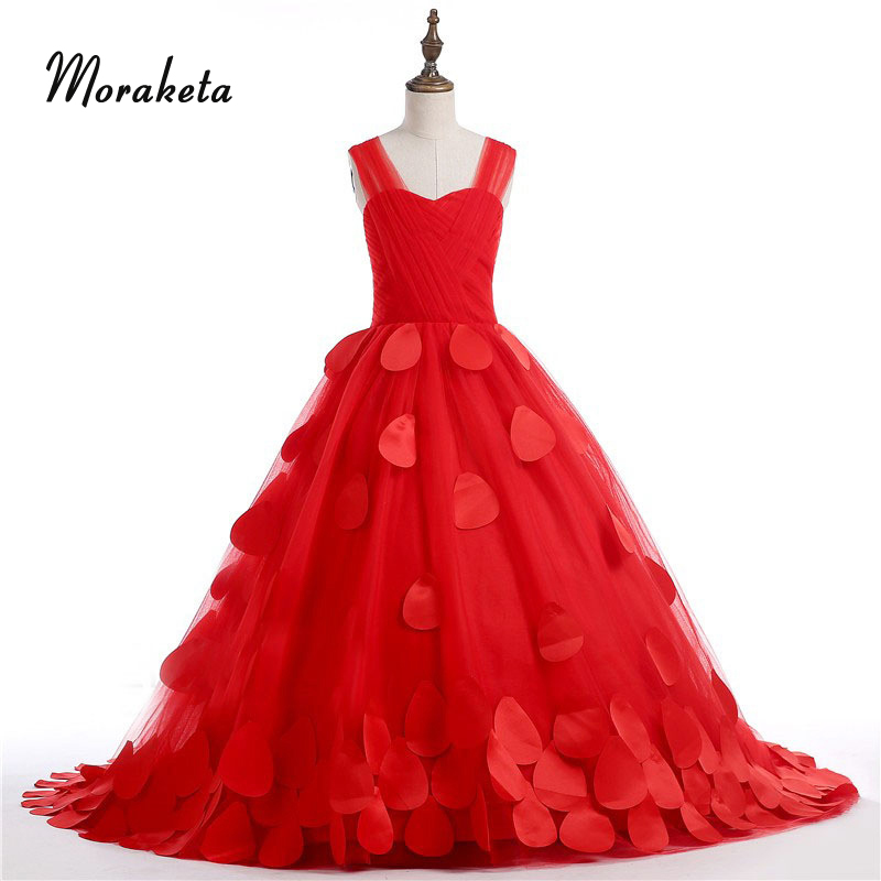 Luxury Red Tulle Girls Pageant Dresses With Train Shoulder Straps Sleeveless Princess Ball Gown Kids Evening Dresses