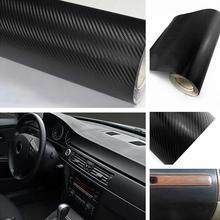 Carro envoltório folha rolo filme adesivo 127x30cm 3d preto fibra de carbono vinil decalque interior do carro decoração do carro adesivo novo