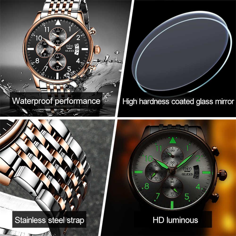 OLEVS классические мужские спортивные часы с хронографом из нержавеющей стали, водонепроницаемые светящиеся Мужские кварцевые наручные часы для ролевых часов