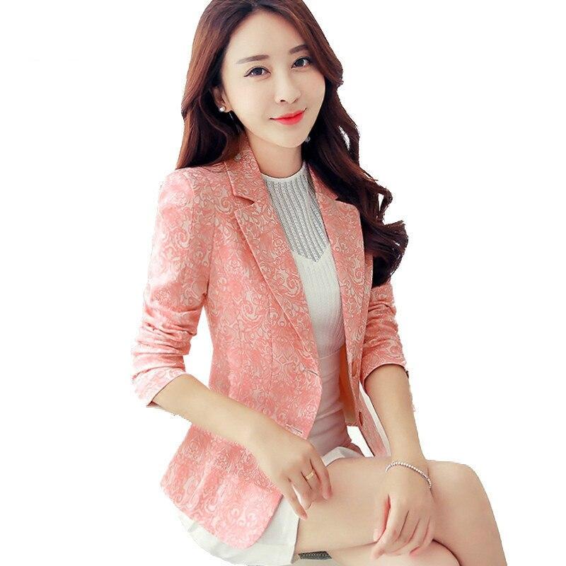 2020 New Spring Autumn  Blazers Women Cost Korean Short Slim Lace Patchwork Blazer  Ladies Office  Coats Suit Jacket Pink White
