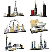Arquitetura paris dubai londres sydney chicago xangai blocos de construção kit tijolos clássico cidade modelo criança brinquedos para crianças presente