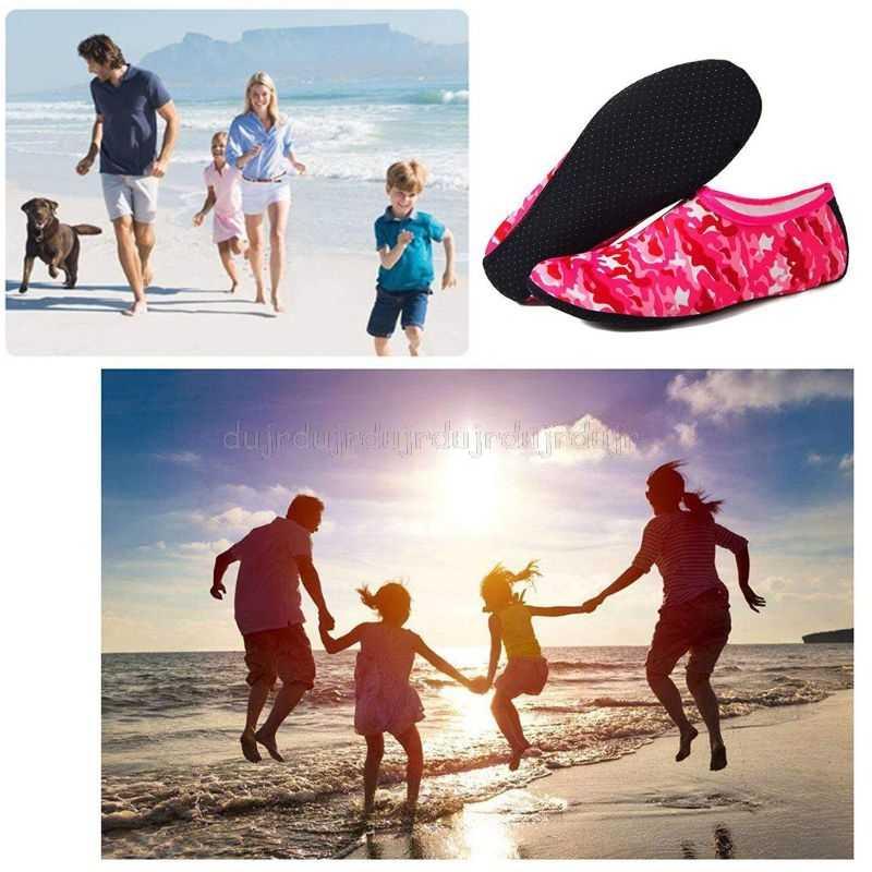 Yaz Yoga spor plaj su ayakkabısı kamuflaj baskı dalış şnorkel Aqua çorap yüzme hızlı kuru Barefoot terlik S24 19