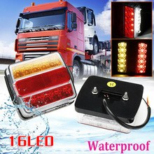 цена на Rear 16 LED Submersible Trailer Tail Lights Lamp Boat Marker Truck Waterproof 12V Submersible Trailer Light