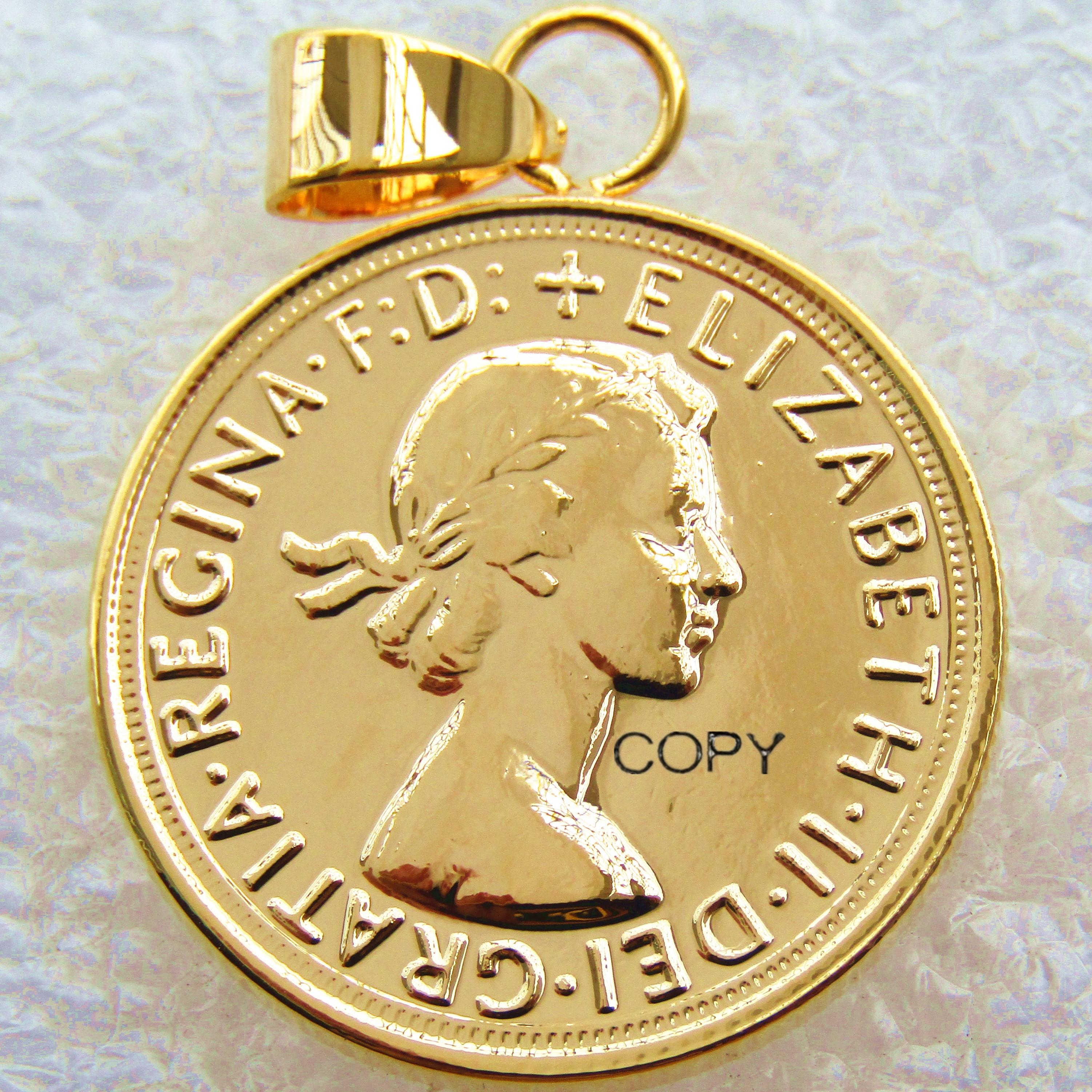 P(24) pingente de moeda 1964 regina fd elizabeth ii dei gratia banhado a ouro 1 moedas de cópia soberana (diâmetro: 22mm)