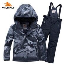 цена на 2020 Winter Ski Suit Kids Boys Snow Suit Children Waterproof Windproof Ski Jacket Pants 2 Pieces Ski Sets Snowboard Clothes -25C