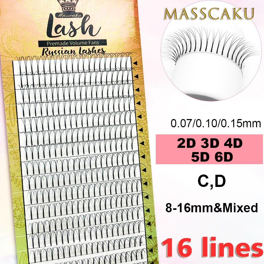 MASSCAKU 16lines Premade Russian Volume Fans 2d/3d/4d/5d/6d Eyelashes Long Stem Lash Pre Made Eyelash Extensions Supplies